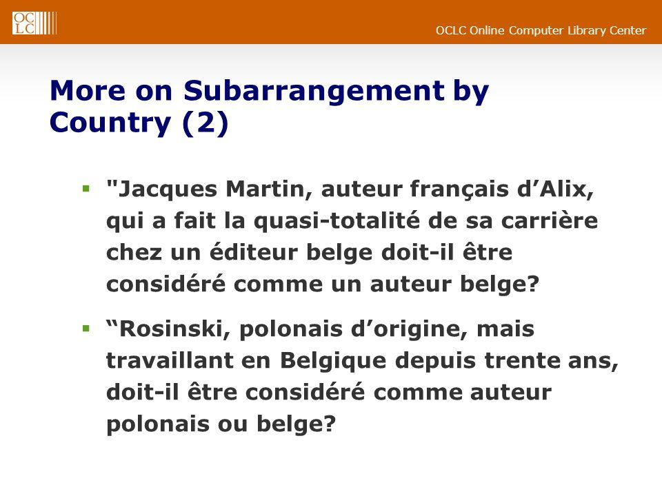 OCLC Online Computer Library Center More on Subarrangement by Country (2) Jacques Martin, auteur français dAlix, qui a fait la quasi-totalité de sa carrière chez un éditeur belge doit-il être considéré comme un auteur belge.