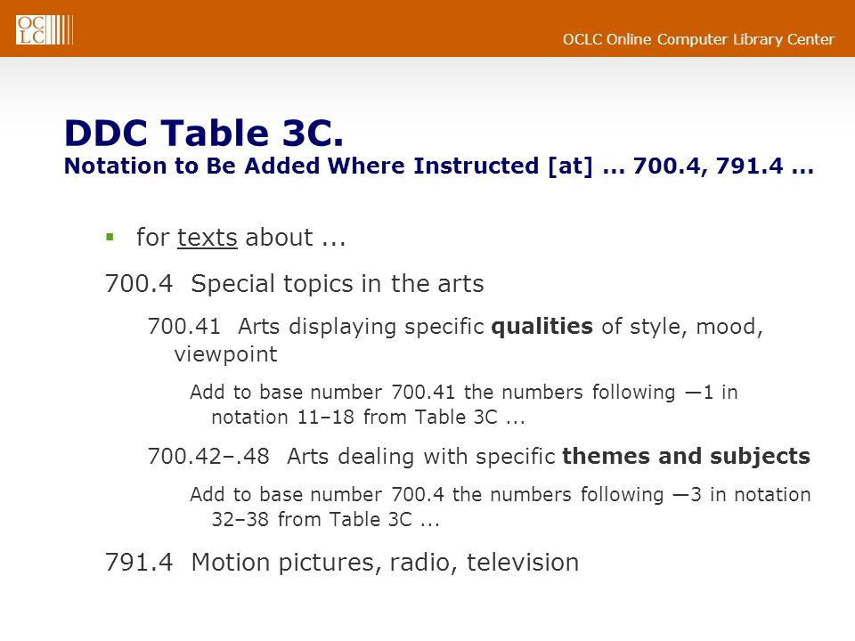 OCLC Online Computer Library Center DDC Table 3C. Notation to Be Added Where Instructed [at]... 700.4, 791.4... for texts about... 700.4 Special topic