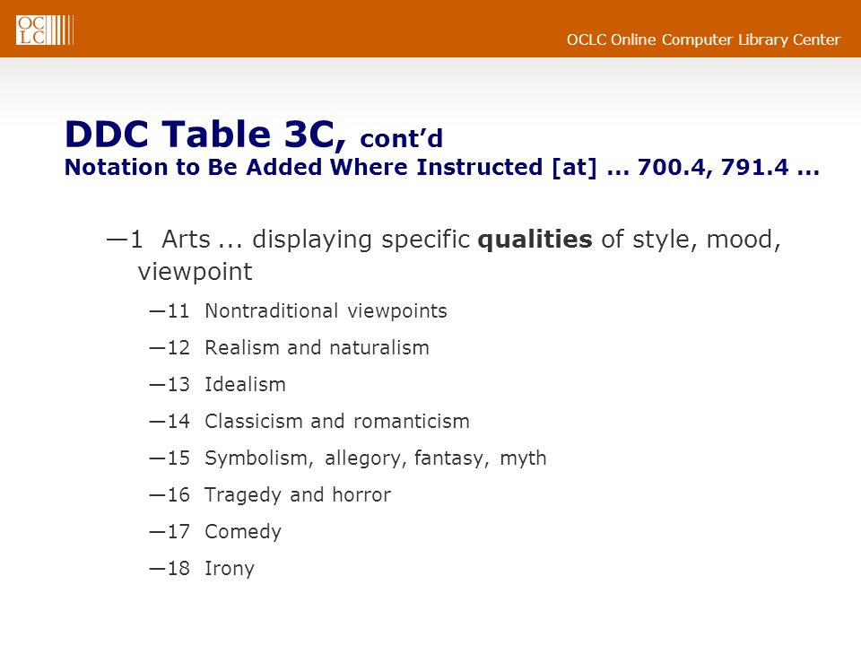 OCLC Online Computer Library Center DDC Table 3C, contd Notation to Be Added Where Instructed [at]... 700.4, 791.4... 1 Arts... displaying specific qu