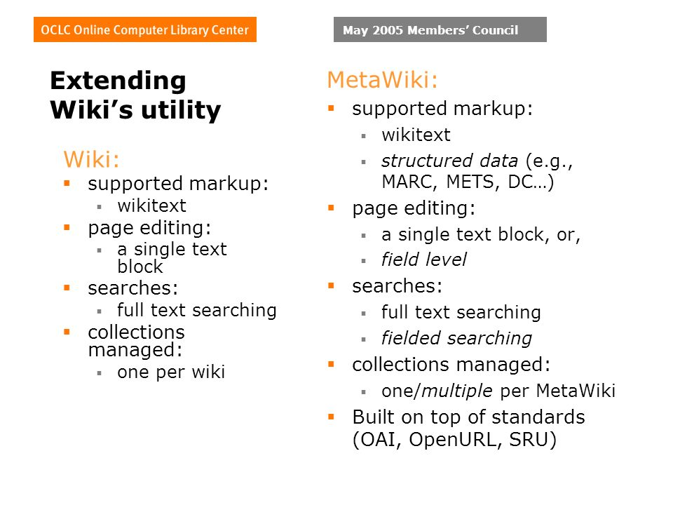 May 2005 Members Council Extending Wikis utility Wiki: supported markup: wikitext page editing: a single text block searches: full text searching collections managed: one per wiki MetaWiki: supported markup: wikitext structured data (e.g., MARC, METS, DC…) page editing: a single text block, or, field level searches: full text searching fielded searching collections managed: one/multiple per MetaWiki Built on top of standards (OAI, OpenURL, SRU)