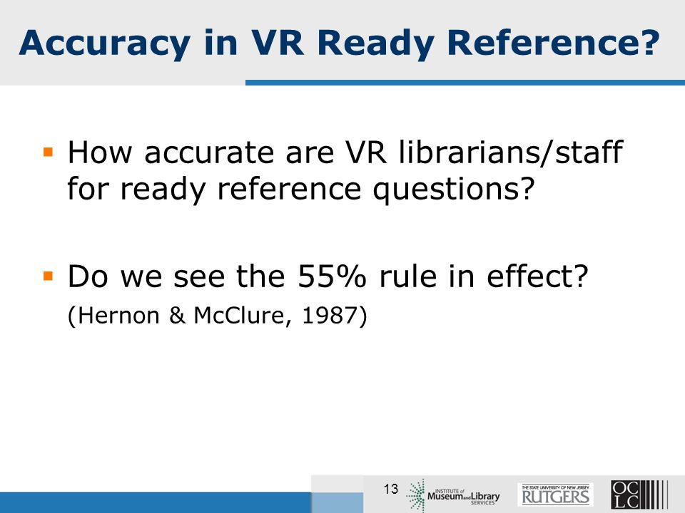 13 How accurate are VR librarians/staff for ready reference questions? Do we see the 55% rule in effect? (Hernon & McClure, 1987) Accuracy in VR Ready