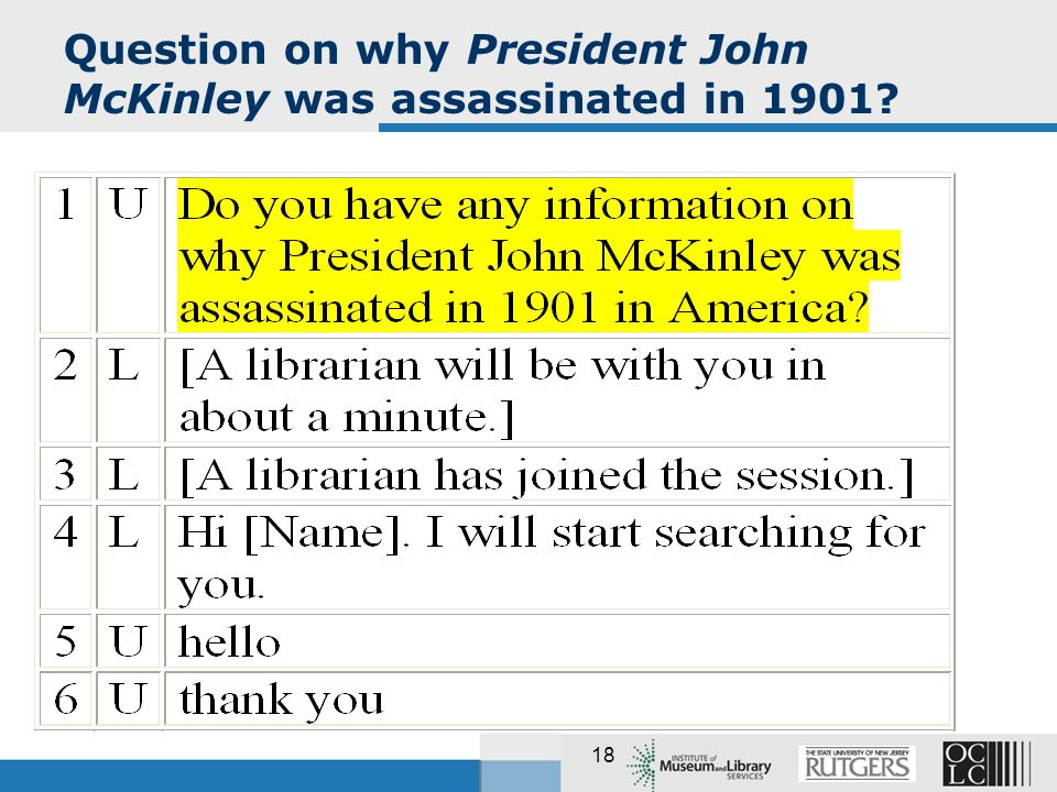 18 Question on why President John McKinley was assassinated in 1901?