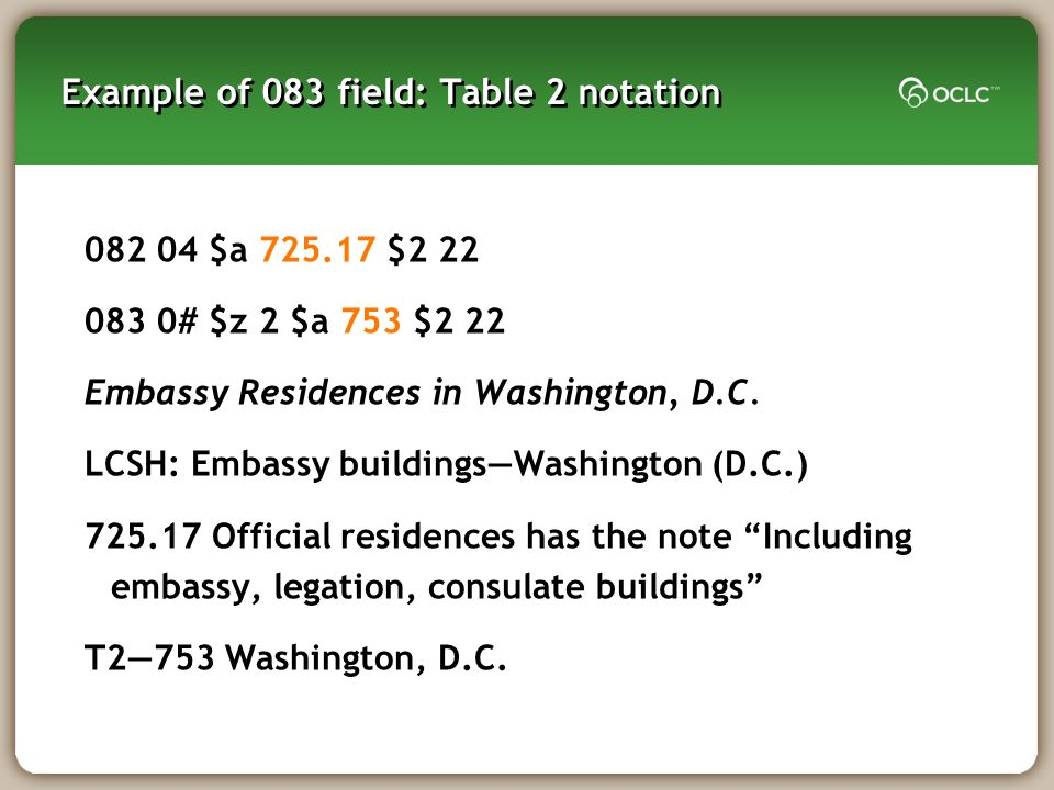 Example of 083 field: Table 2 notation $a $ # $z 2 $a 753 $2 22 Embassy Residences in Washington, D.C.