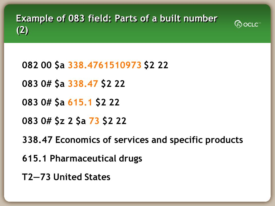 Example of 083 field: Parts of a built number (2) $a $ # $a $ # $a $ # $z 2 $a 73 $ Economics of services and specific products Pharmaceutical drugs T273 United States