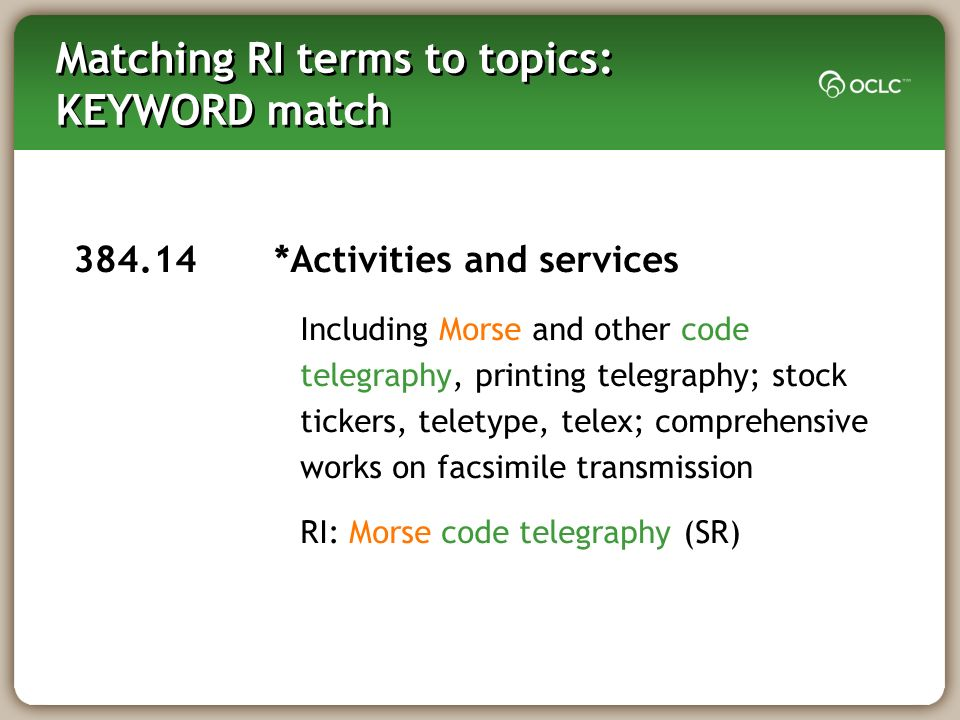 Matching RI terms to topics: KEYWORD match 384.14 *Activities and services Including Morse and other code telegraphy, printing telegraphy; stock tickers, teletype, telex; comprehensive works on facsimile transmission RI: Morse code telegraphy (SR)