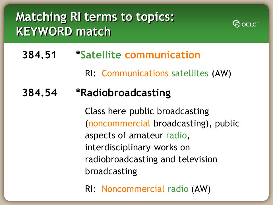 Matching RI terms to topics: KEYWORD match 384.51 *Satellite communication RI: Communications satellites (AW) 384.54 *Radiobroadcasting Class here pub