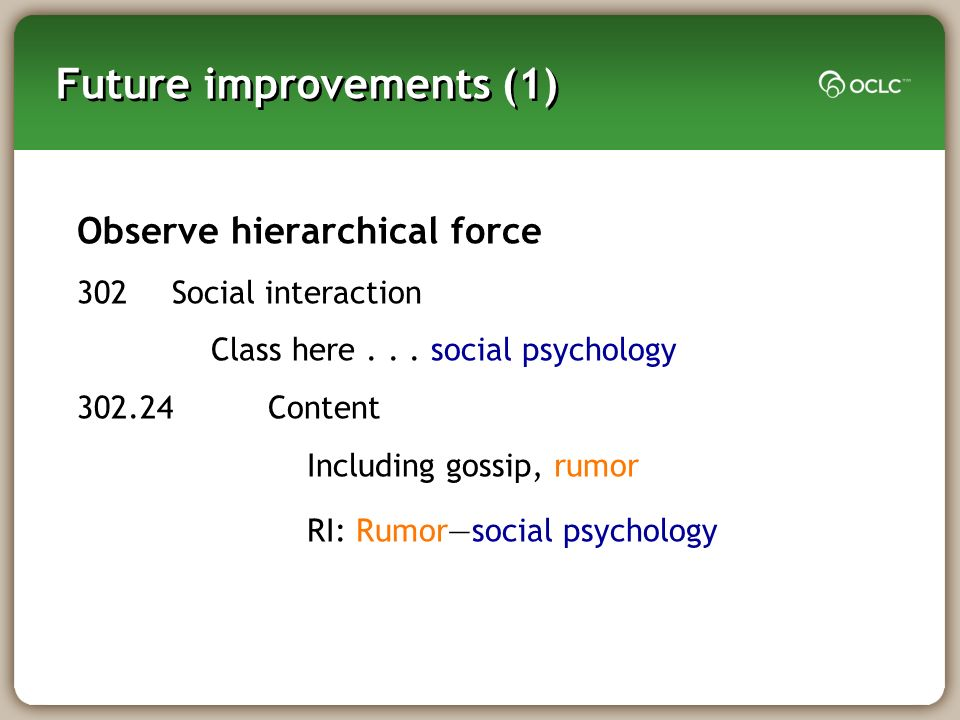 Future improvements (1) Observe hierarchical force 302Social interaction Class here... social psychology 302.24Content Including gossip, rumor RI: Rum