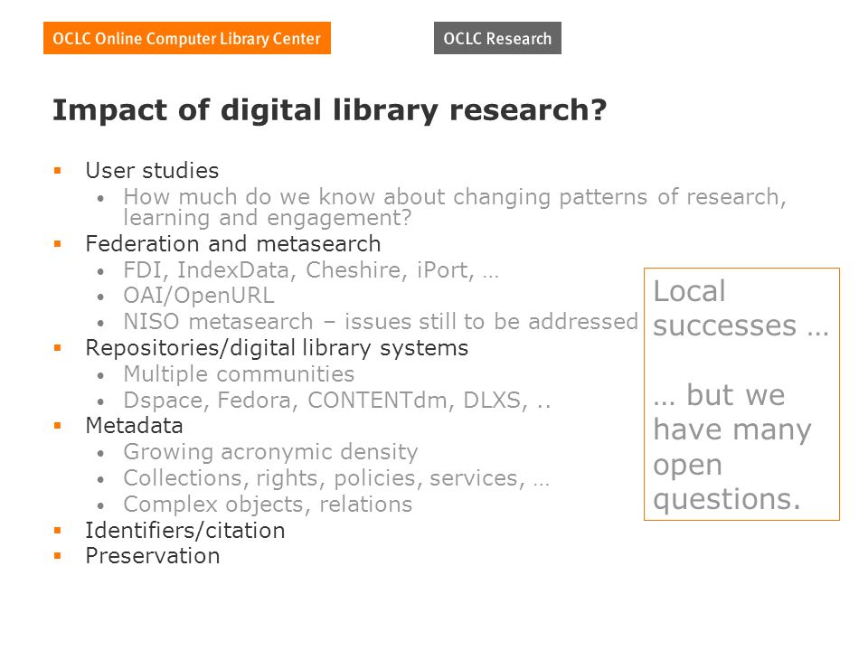 Impact of digital library research.