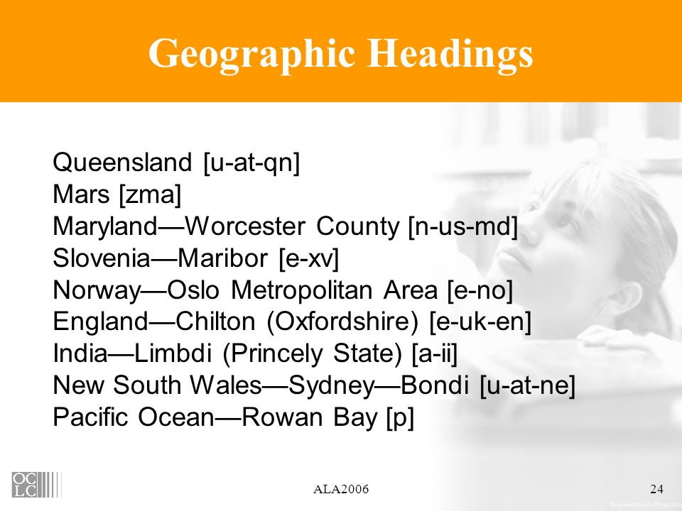ALA200624 Geographic Headings Queensland [u-at-qn] Mars [zma] MarylandWorcester County [n-us-md] SloveniaMaribor [e-xv] NorwayOslo Metropolitan Area [e-no] EnglandChilton (Oxfordshire) [e-uk-en] IndiaLimbdi (Princely State) [a-ii] New South WalesSydneyBondi [u-at-ne] Pacific OceanRowan Bay [p]