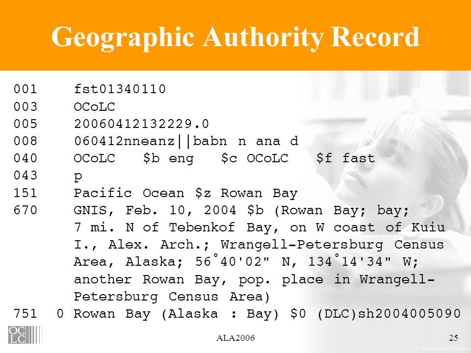 ALA200625 Geographic Authority Record