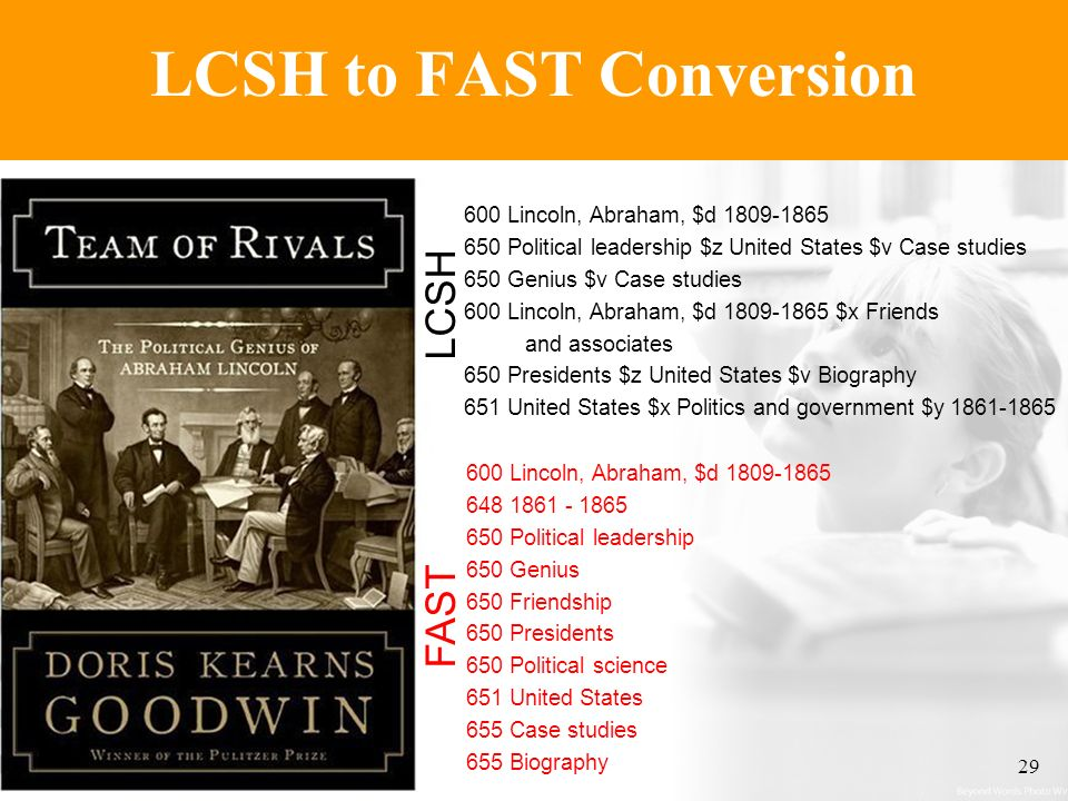 ALA200629 LCSH to FAST Conversion 600 Lincoln, Abraham, $d 1809-1865 648 1861 - 1865 650 Political leadership 650 Genius 650 Friendship 650 Presidents 650 Political science 651 United States 655 Case studies 655 Biography FAST 600 Lincoln, Abraham, $d 1809-1865 650 Political leadership $z United States $v Case studies 650 Genius $v Case studies 600 Lincoln, Abraham, $d 1809-1865 $x Friends and associates 650 Presidents $z United States $v Biography 651 United States $x Politics and government $y 1861-1865 LCSH