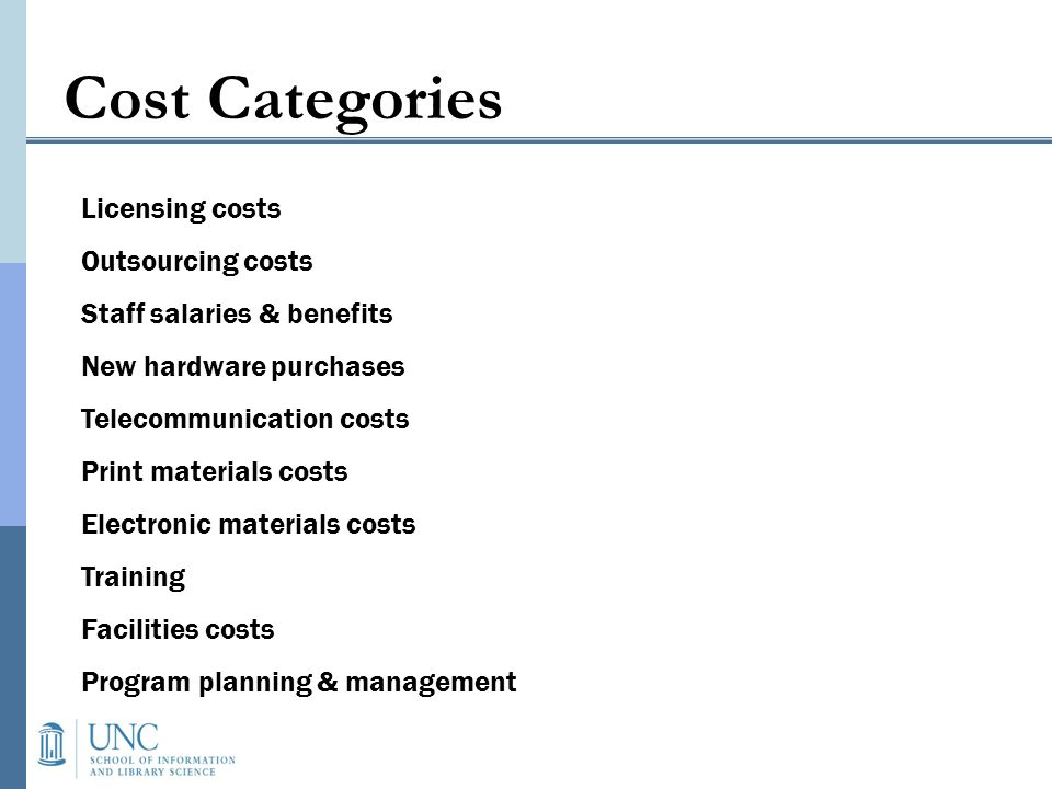 Licensing costs Outsourcing costs Staff salaries & benefits New hardware purchases Telecommunication costs Print materials costs Electronic materials costs Training Facilities costs Program planning & management Cost Categories