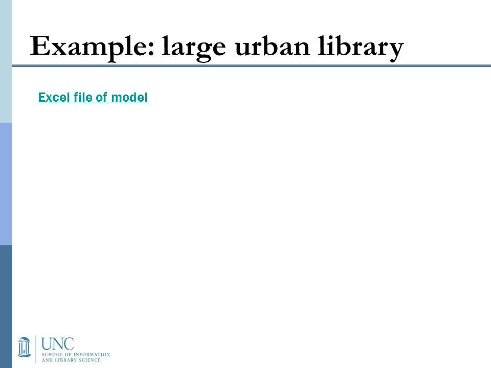 Example: large urban library Excel file of model