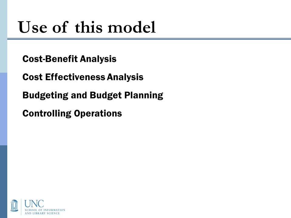 Use of this model Cost-Benefit Analysis Cost Effectiveness Analysis Budgeting and Budget Planning Controlling Operations