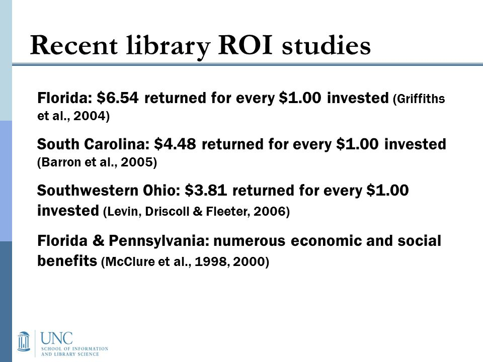 Older reference ROI studies Murfin (1993) reviews several from late 1960s – early 1980s Cost-per-transaction range from $2.20 – $10.80 Some issues in identifying costs: Length of a transaction, idle time % librarians salary Librarians task analysis, reference collection usage Portion of a reference collection to charge to the reference desk