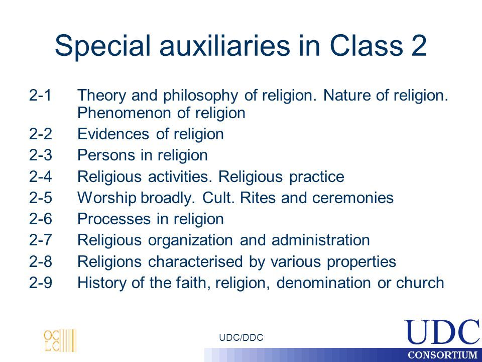 UDC/DDC Special auxiliaries in Class 2 2-1 Theory and philosophy of religion.