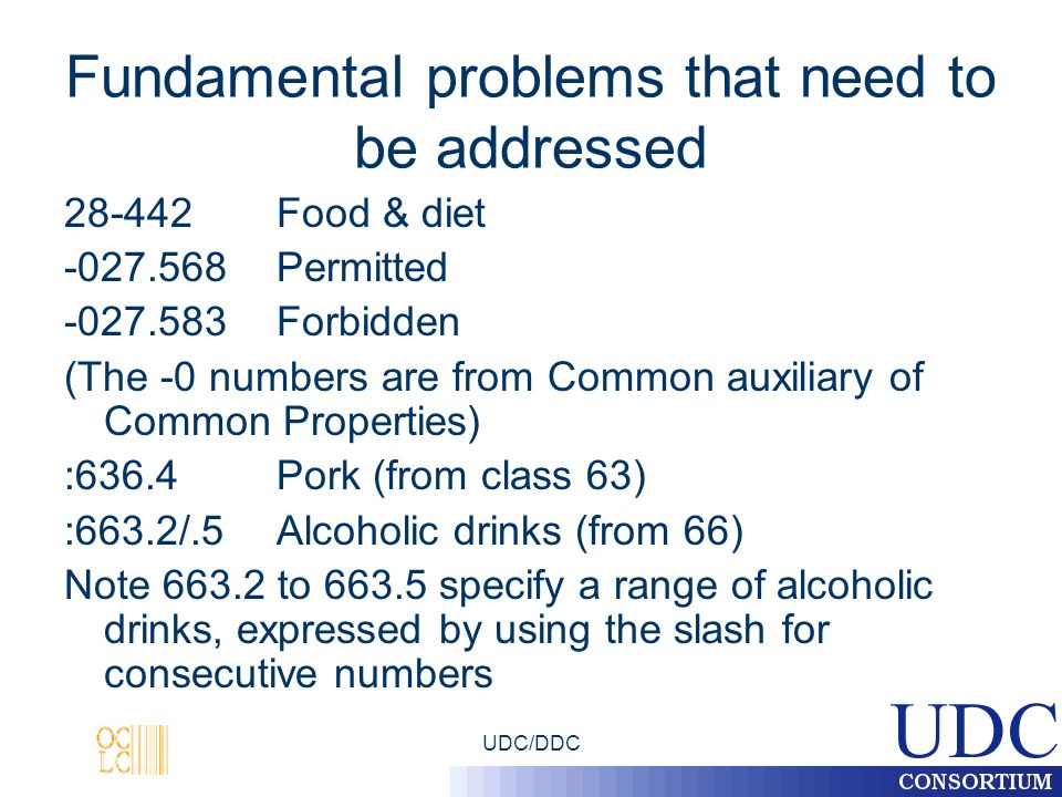 UDC/DDC Fundamental problems that need to be addressed 28-442Food & diet -027.568Permitted -027.583Forbidden (The -0 numbers are from Common auxiliary of Common Properties) :636.4Pork (from class 63) :663.2/.5Alcoholic drinks (from 66) Note 663.2 to 663.5 specify a range of alcoholic drinks, expressed by using the slash for consecutive numbers
