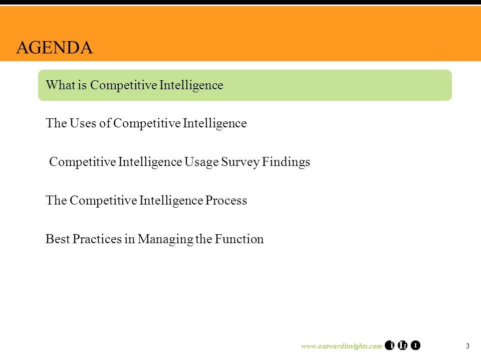 3 AGENDA What is Competitive Intelligence The Uses of Competitive Intelligence Competitive Intelligence Usage Survey Findings The Competitive Intelligence Process Best Practices in Managing the Function