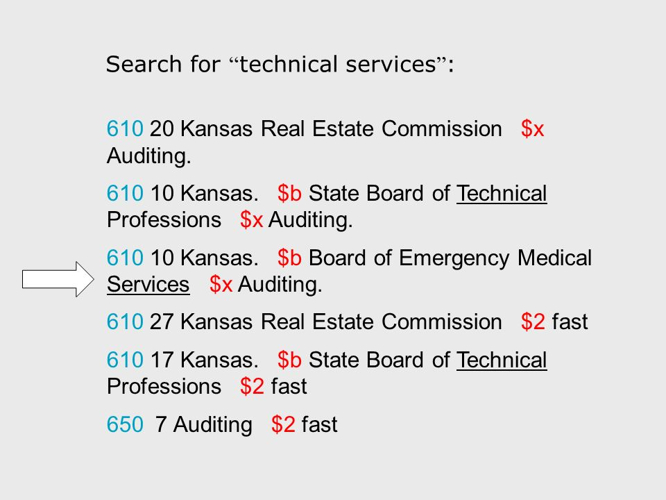 610 20 Kansas Real Estate Commission $x Auditing. 610 10 Kansas. $b State Board of Technical Professions $x Auditing. 610 10 Kansas. $b Board of Emerg