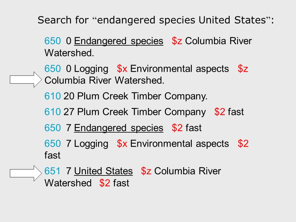 Search for endangered species United States : 650 0 Endangered species $z Columbia River Watershed. 650 0 Logging $x Environmental aspects $z Columbia