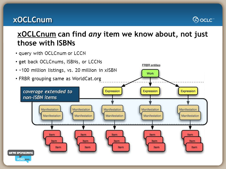 xOCLCnum can find any item we know about, not just those with ISBNs query with OCLCnum or LCCN get back OCLCnums, ISBNs, or LCCNs ~100 million listings, vs.