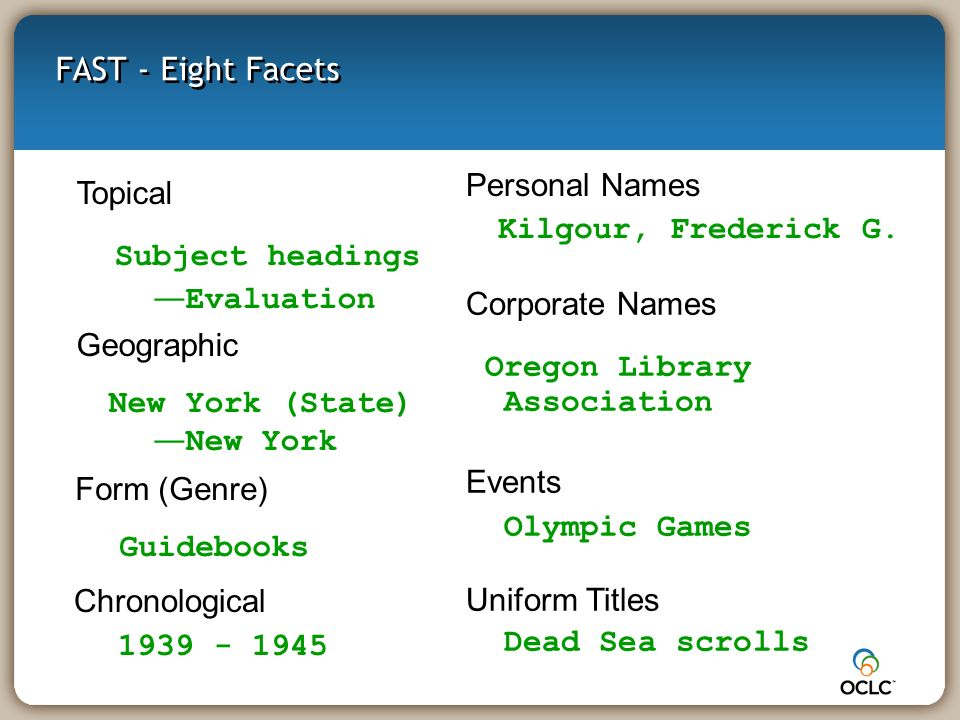 FAST - Eight Facets Topical Subject headings Evaluation Form (Genre) Guidebooks Chronological 1939 - 1945 Geographic New York (State) New York Personal Names Kilgour, Frederick G.