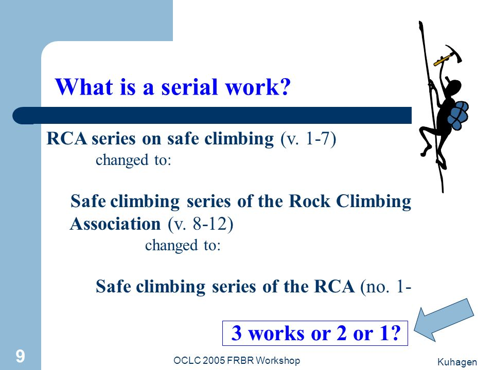 Kuhagen OCLC 2005 FRBR Workshop 9 What is a serial work? RCA series on safe climbing (v. 1-7) changed to: Safe climbing series of the Rock Climbing As