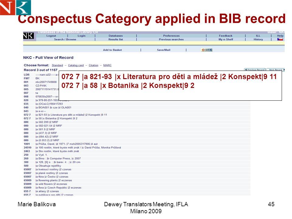Marie BalikovaDewey Translators Meeting, IFLA Milano 2009 45 Conspectus Category applied in BIB record 072 7 |a 821-93 |x Literatura pro děti a mládež |2 Konspekt|9 11 072 7 |a 58 |x Botanika |2 Konspekt|9 2