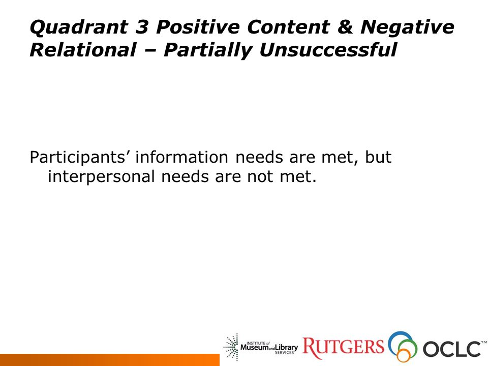 Quadrant 3 Positive Content & Negative Relational – Partially Unsuccessful Participants information needs are met, but interpersonal needs are not met