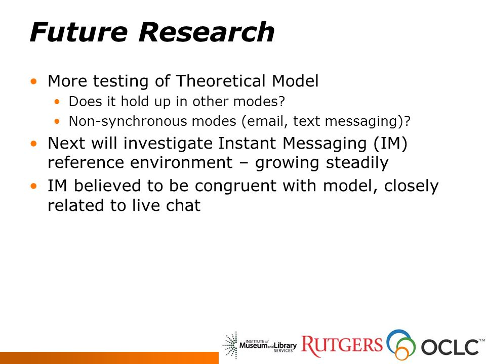 Future Research More testing of Theoretical Model Does it hold up in other modes? Non-synchronous modes (email, text messaging)? Next will investigate