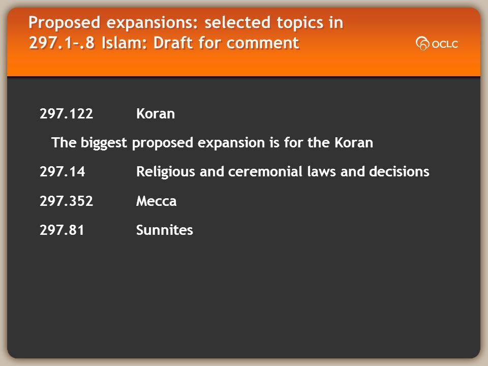 Proposed expansions: selected topics in 297.1–.8 Islam: Draft for comment 297.122 Koran The biggest proposed expansion is for the Koran 297.14 Religious and ceremonial laws and decisions 297.352 Mecca 297.81 Sunnites