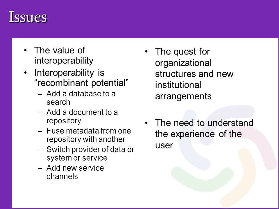 Issues The value of interoperability Interoperability is recombinant potential –Add a database to a search –Add a document to a repository –Fuse metadata from one repository with another –Switch provider of data or system or service –Add new service channels The quest for organizational structures and new institutional arrangements The need to understand the experience of the user