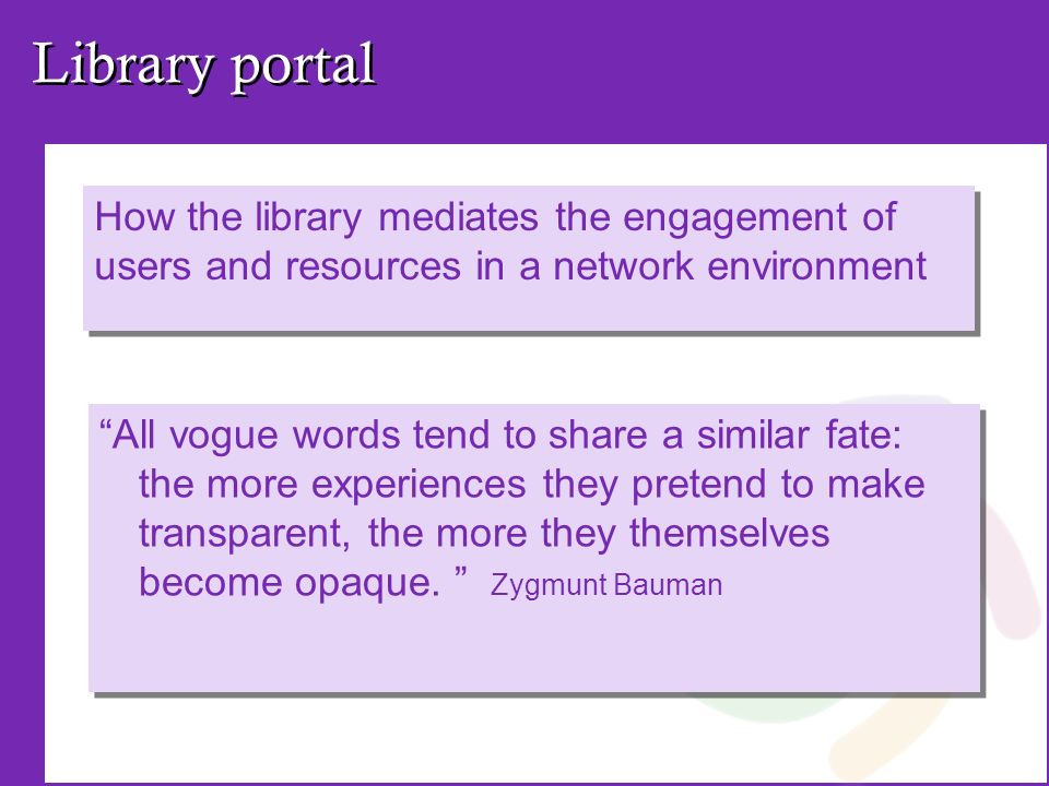 Library portal How the library mediates the engagement of users and resources in a network environment All vogue words tend to share a similar fate: the more experiences they pretend to make transparent, the more they themselves become opaque.