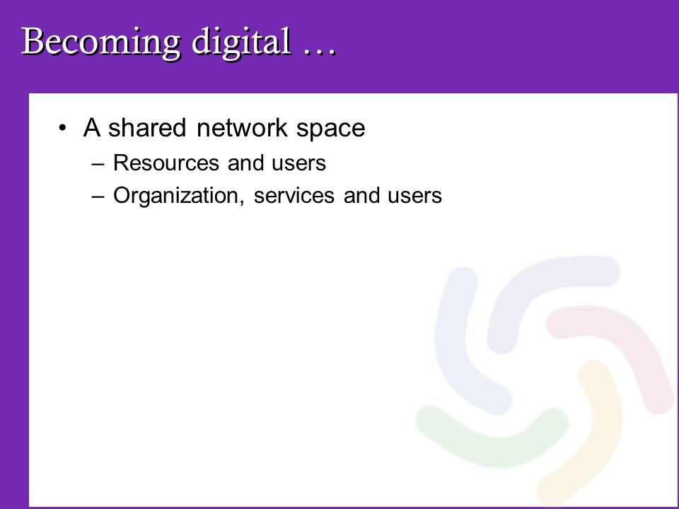 Becoming digital … A shared network space –Resources and users –Organization, services and users