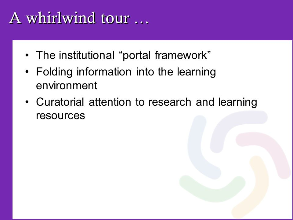 A whirlwind tour … The institutional portal framework Folding information into the learning environment Curatorial attention to research and learning resources
