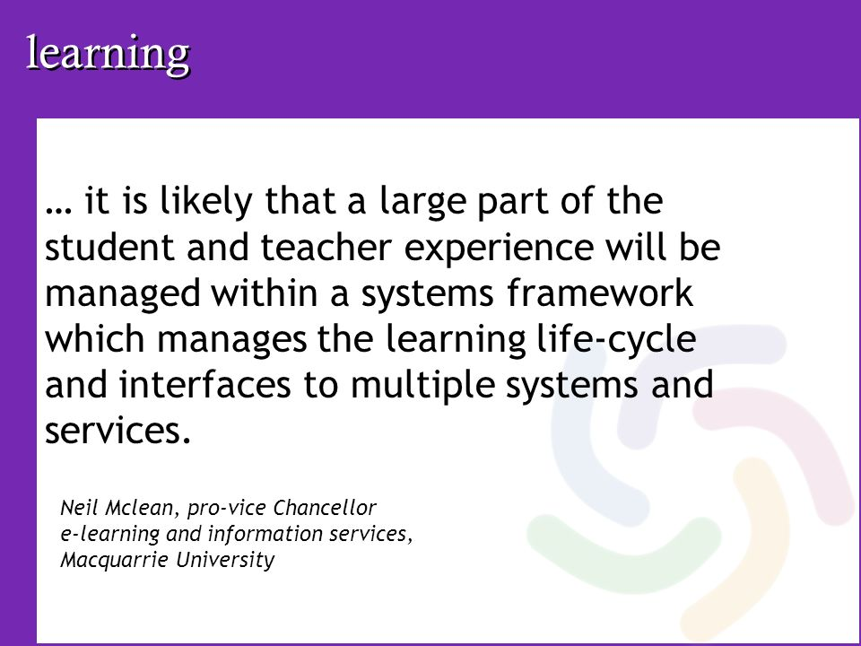 learning … it is likely that a large part of the student and teacher experience will be managed within a systems framework which manages the learning life-cycle and interfaces to multiple systems and services.