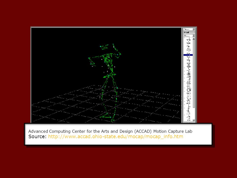 Advanced Computing Center for the Arts and Design (ACCAD) Motion Capture Lab Source: http://www.accad.ohio-state.edu/mocap/mocap_info.htm