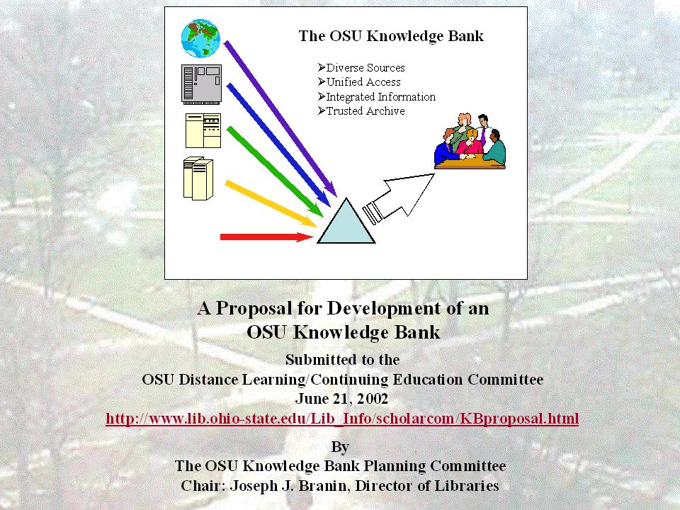 Knowledge bank – OSU – in planning April 26 2002.
