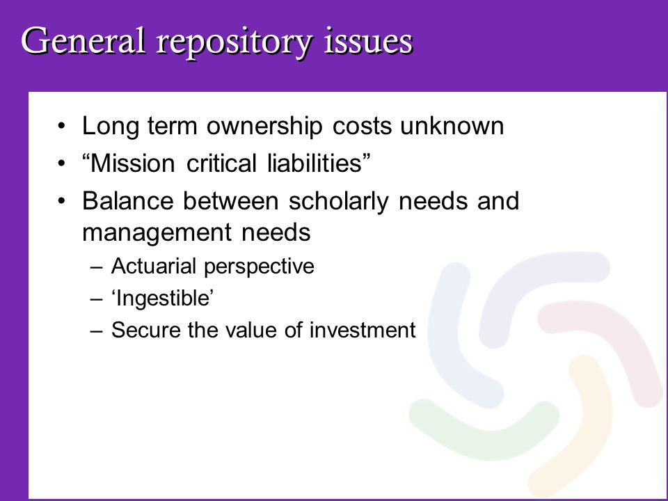 General repository issues Long term ownership costs unknown Mission critical liabilities Balance between scholarly needs and management needs –Actuari