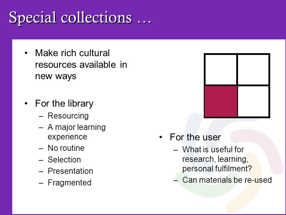 Special collections … Make rich cultural resources available in new ways For the library –Resourcing –A major learning experience –No routine –Selecti