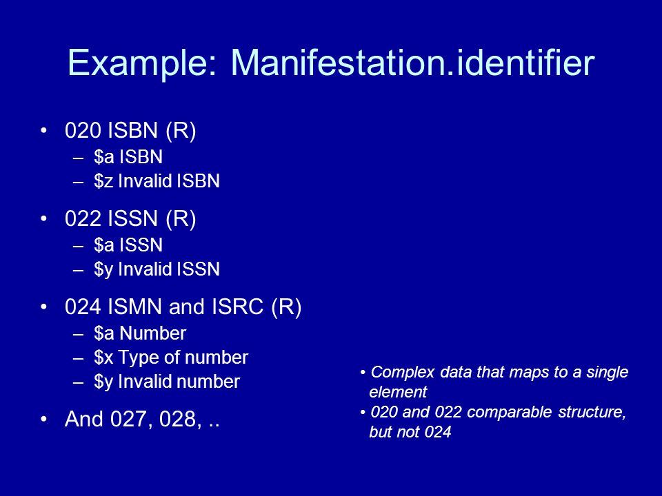 Example: Manifestation.identifier 020 ISBN (R) –$a ISBN –$z Invalid ISBN 022 ISSN (R) –$a ISSN –$y Invalid ISSN 024 ISMN and ISRC (R) –$a Number –$x Type of number –$y Invalid number And 027, 028,..