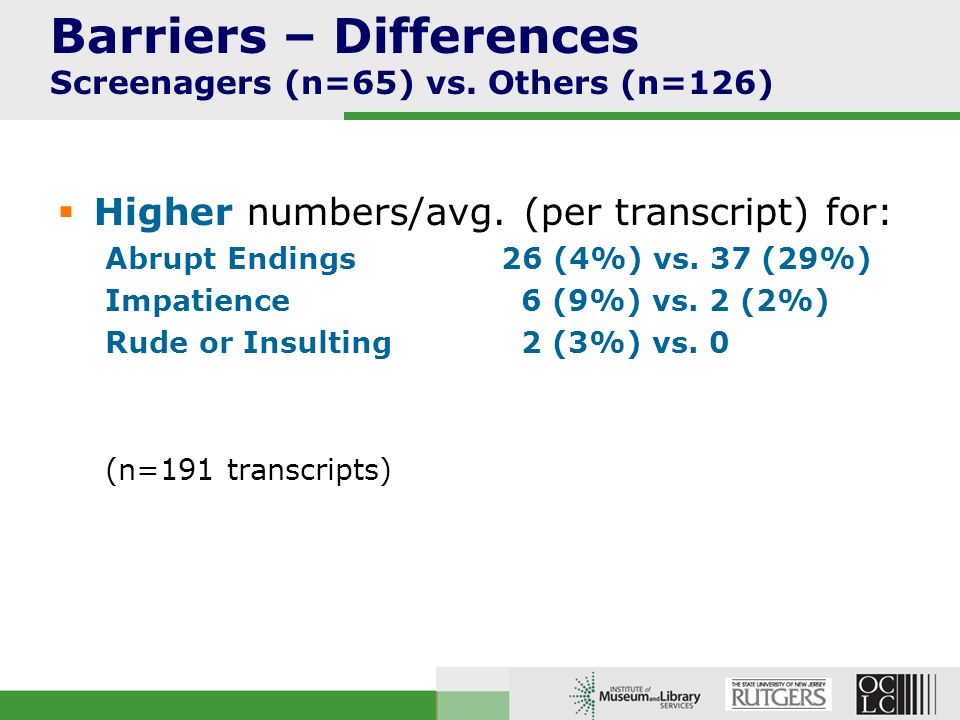 Barriers – Differences Screenagers (n=65) vs. Others (n=126) Higher numbers/avg.