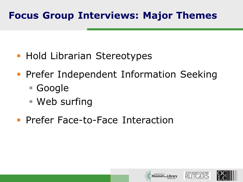 Focus Group Interviews: Major Themes Have Privacy/Security Concerns Librarians as psycho killers .