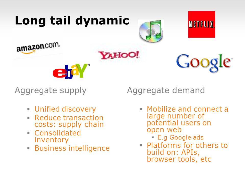 Long tail dynamic Aggregate supply Unified discovery Reduce transaction costs: supply chain Consolidated inventory Business intelligence Aggregate demand Mobilize and connect a large number of potential users on open web E.g Google ads Platforms for others to build on: APIs, browser tools, etc
