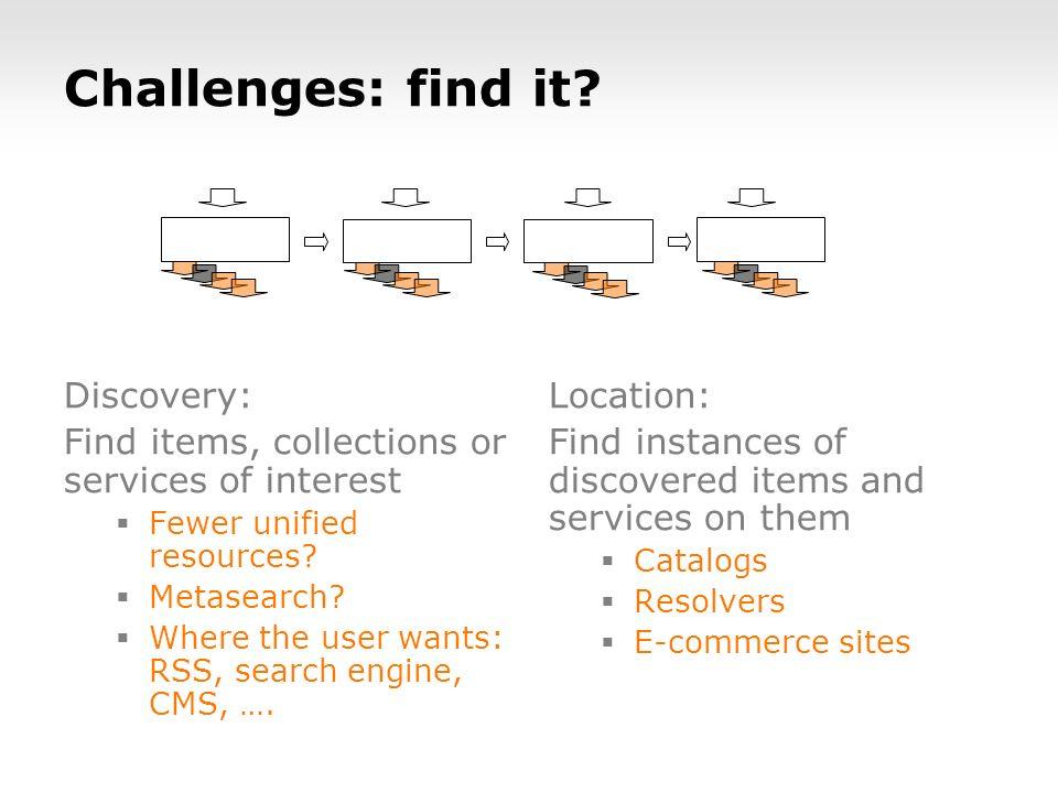 Challenges: find it.