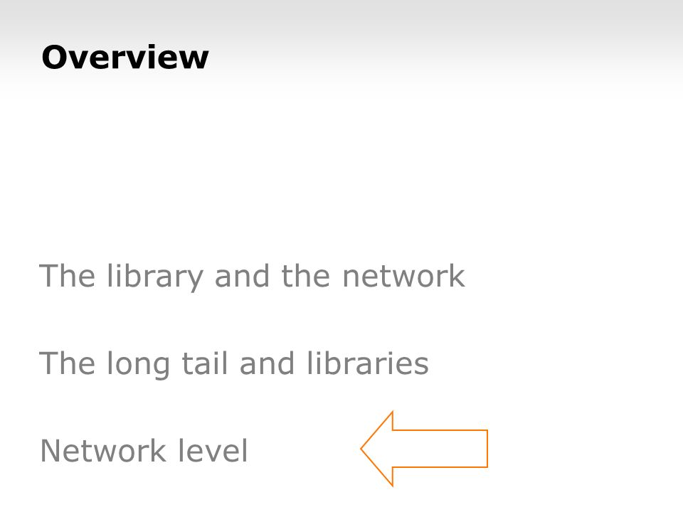 Overview The library and the network The long tail and libraries Network level
