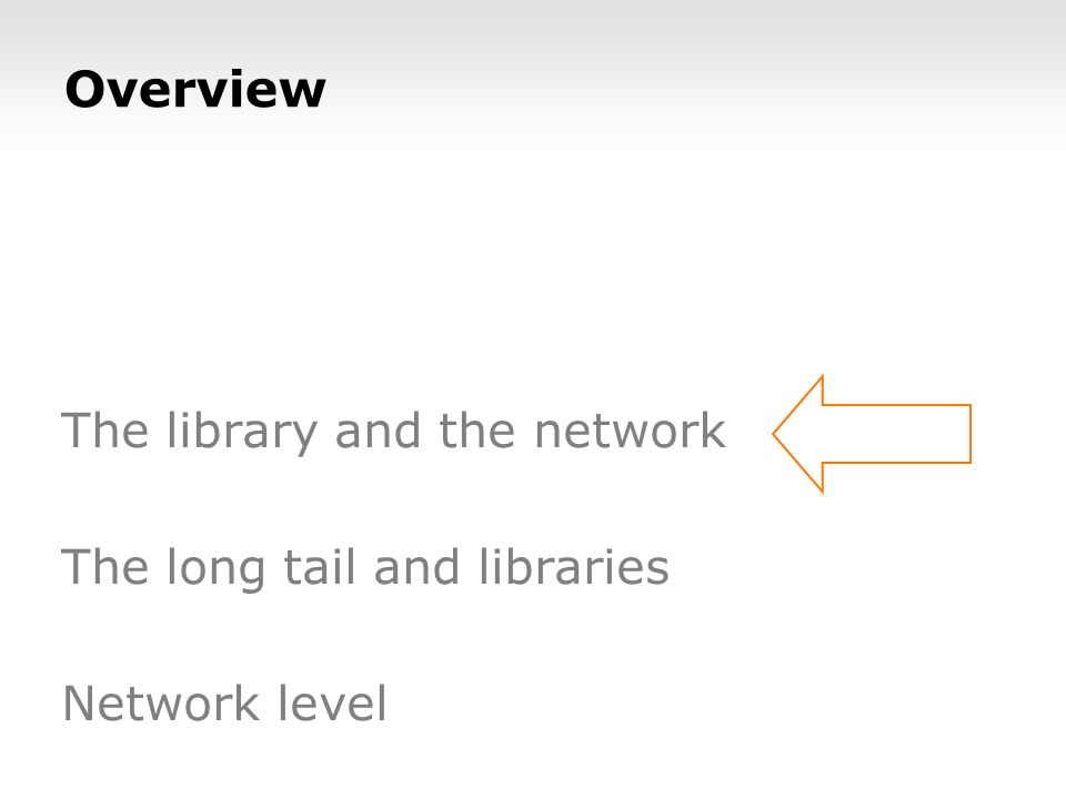 The library and the network The long tail and libraries Network level