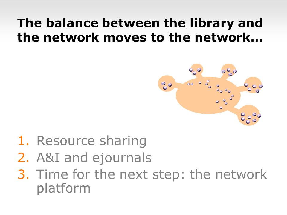 The balance between the library and the network moves to the network… 1.Resource sharing 2.A&I and ejournals 3.Time for the next step: the network platform