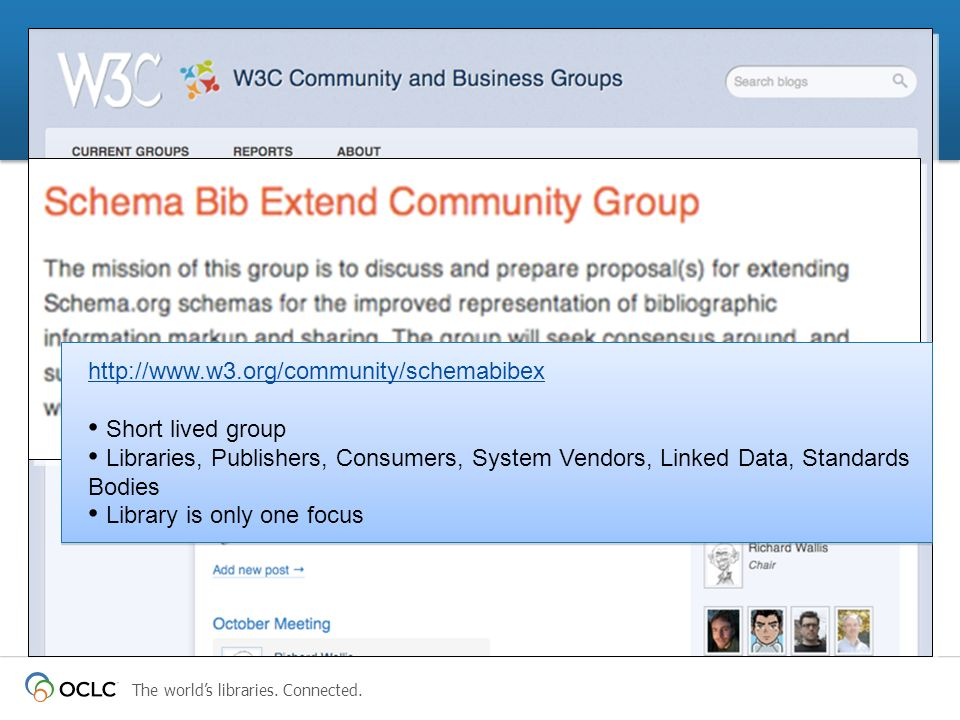 http://www.w3.org/community/schemabibex Short lived group Libraries, Publishers, Consumers, System Vendors, Linked Data, Standards Bodies Library is only one focus