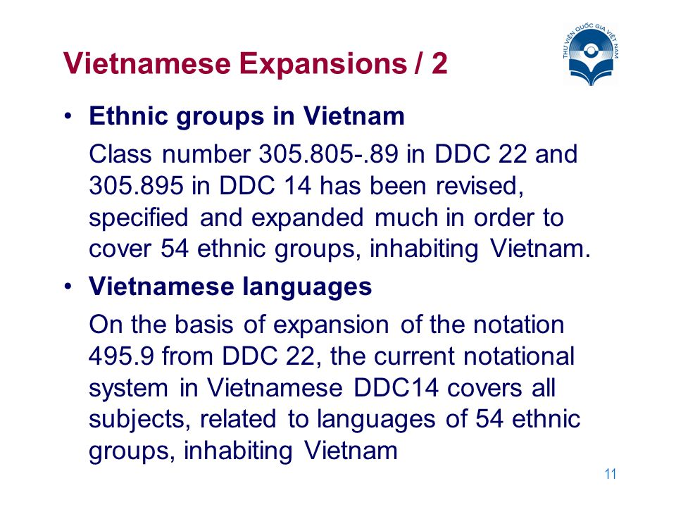 11 Vietnamese Expansions / 2 Ethnic groups in Vietnam Class number 305.805-.89 in DDC 22 and 305.895 in DDC 14 has been revised, specified and expande